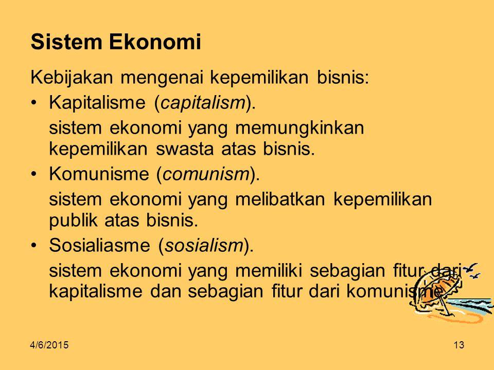 4/6/201513 Sistem Ekonomi Kebijakan mengenai kepemilikan bisnis: Kapitalisme (capitalism).