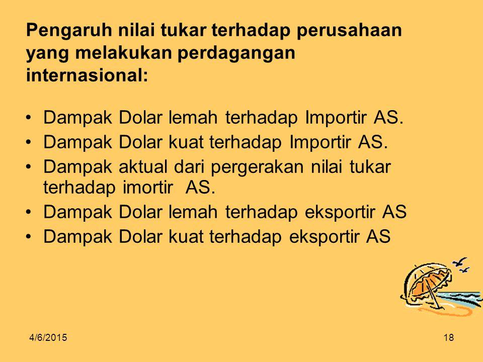 4/6/201518 Pengaruh nilai tukar terhadap perusahaan yang melakukan perdagangan internasional: Dampak Dolar lemah terhadap Importir AS.