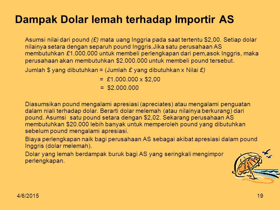 4/6/201519 Dampak Dolar lemah terhadap Importir AS Asumsi nilai dari pound (£) mata uang Inggria pada saat tertentu $2,00.