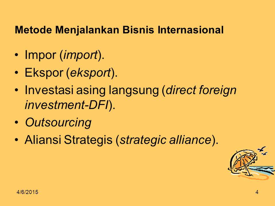 4/6/20154 Metode Menjalankan Bisnis Internasional Impor (import).
