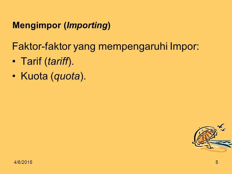 4/6/20155 Mengimpor (Importing) Faktor-faktor yang mempengaruhi Impor: Tarif (tariff).