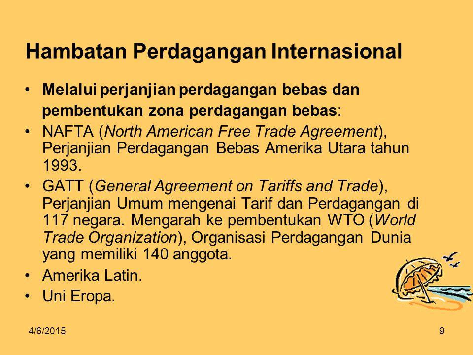 4/6/20159 Hambatan Perdagangan Internasional Melalui perjanjian perdagangan bebas dan pembentukan zona perdagangan bebas: NAFTA (North American Free Trade Agreement), Perjanjian Perdagangan Bebas Amerika Utara tahun 1993.
