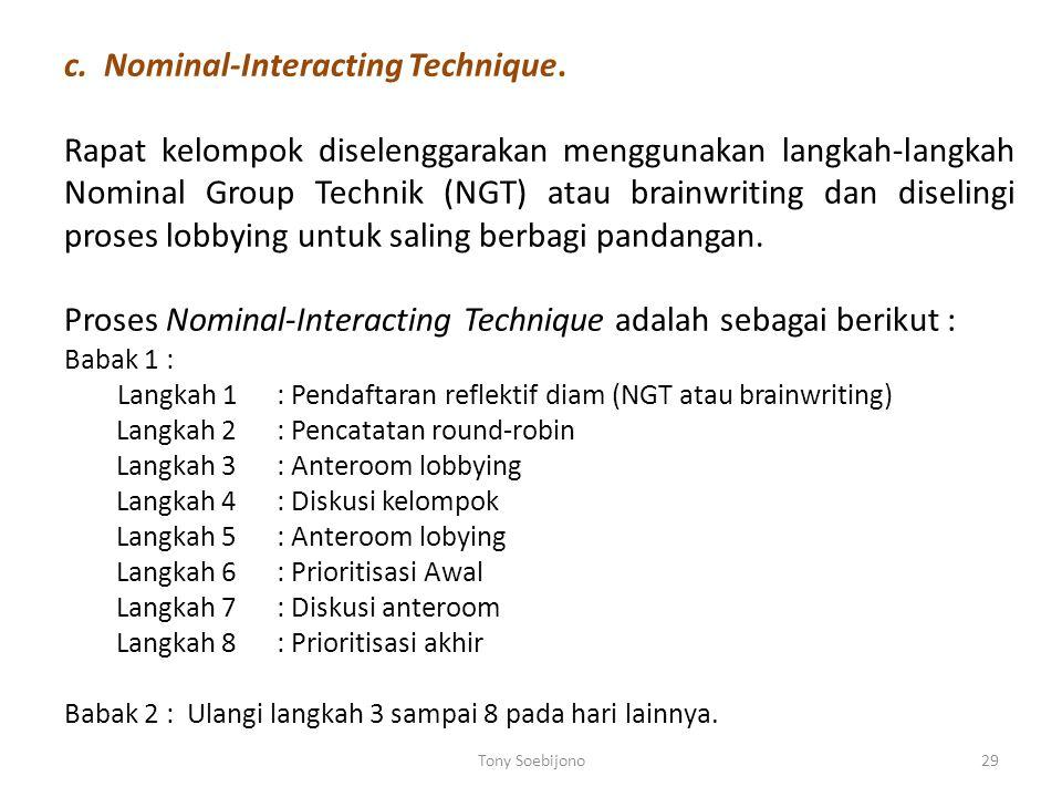 b. Brainwriting Technique Proses brainwriting (Nutt, 1984c) : 1.Pemimpin memprakarsai suatu sidang pengambilan- keputusan kelompok dengan menaruh lemb