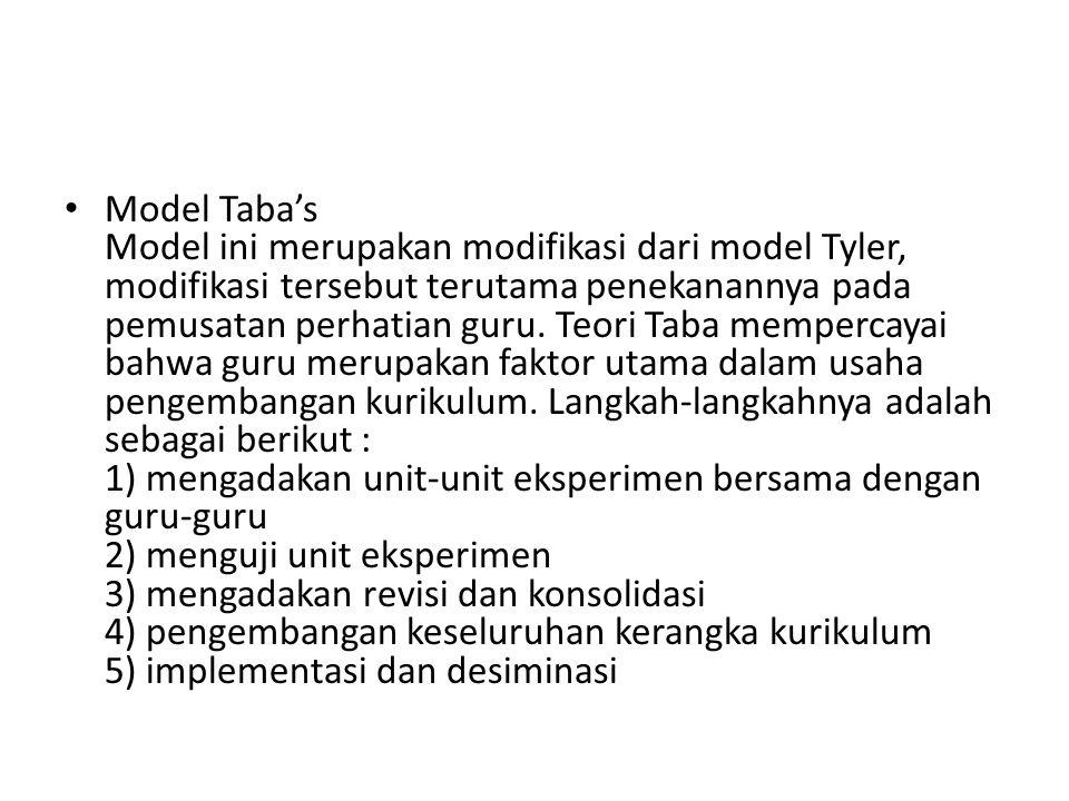 Model Taba's Model ini merupakan modifikasi dari model Tyler, modifikasi tersebut terutama penekanannya pada pemusatan perhatian guru. Teori Taba memp