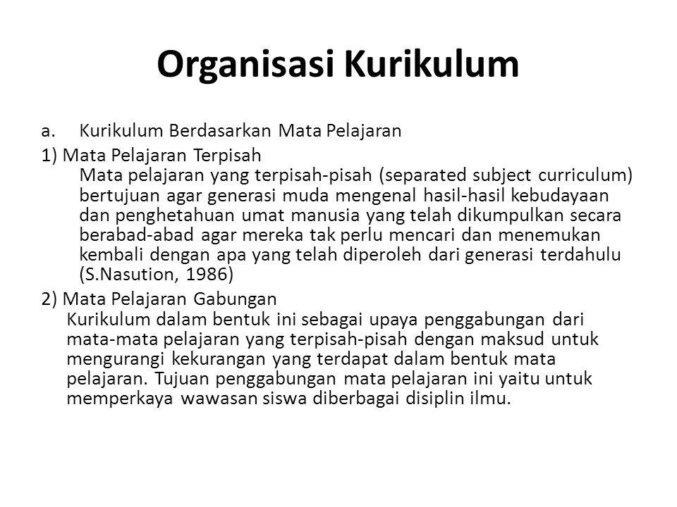 Organisasi Kurikulum a.Kurikulum Berdasarkan Mata Pelajaran 1) Mata Pelajaran Terpisah Mata pelajaran yang terpisah-pisah (separated subject curriculu