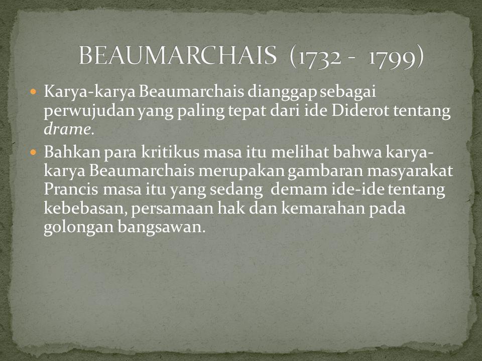 Karya-karya Beaumarchais dianggap sebagai perwujudan yang paling tepat dari ide Diderot tentang drame. Bahkan para kritikus masa itu melihat bahwa kar