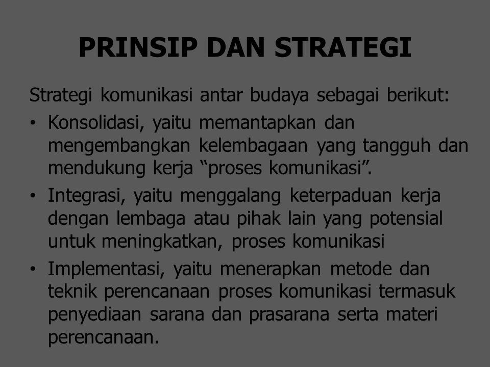 PRINSIP DAN STRATEGI Strategi komunikasi antar budaya sebagai berikut: Konsolidasi, yaitu memantapkan dan mengembangkan kelembagaan yang tangguh dan m