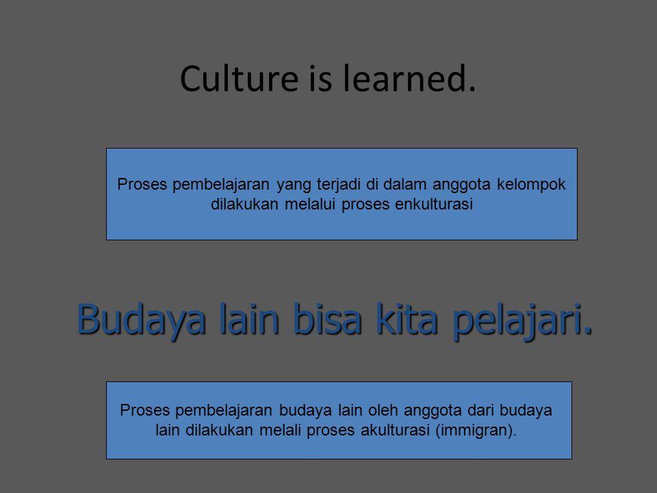 Culture is learned. Budaya lain bisa kita pelajari. Proses pembelajaran yang terjadi di dalam anggota kelompok dilakukan melalui proses enkulturasi Pr