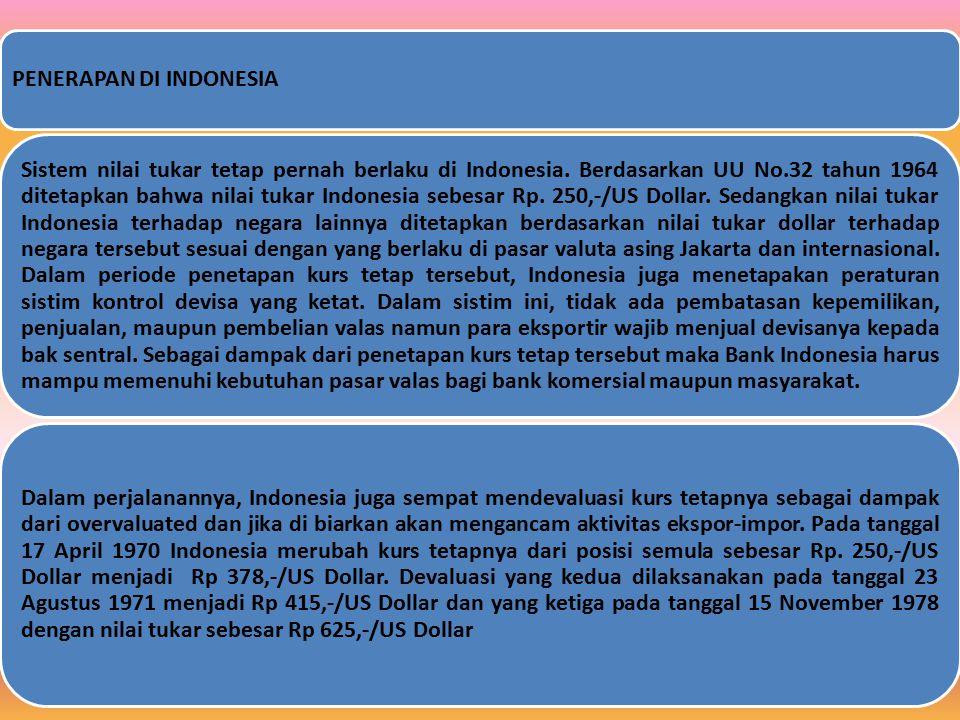 PENERAPAN DI INDONESIA Sistem nilai tukar tetap pernah berlaku di Indonesia. Berdasarkan UU No.32 tahun 1964 ditetapkan bahwa nilai tukar Indonesia se