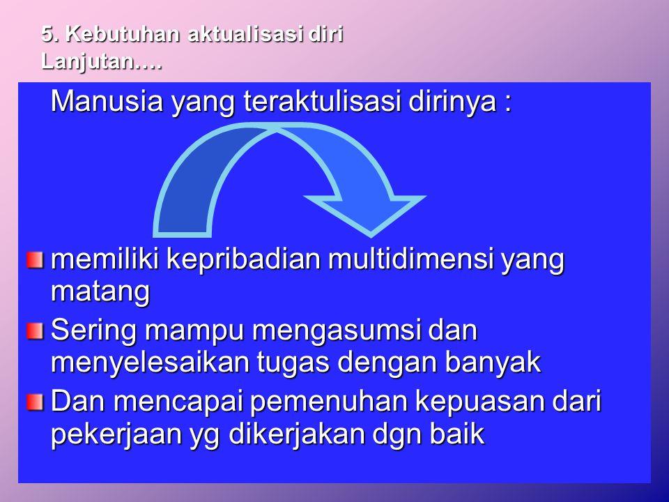 5.Kebutuhan aktualisasi diri Lanjutan….