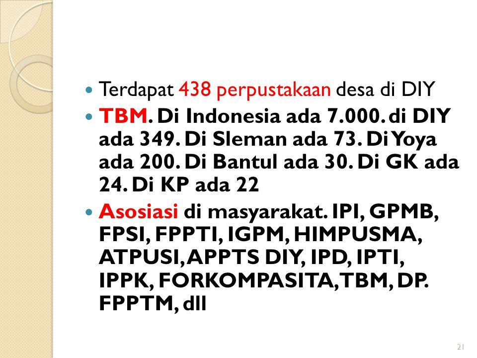 Terdapat 438 perpustakaan desa di DIY TBM. Di Indonesia ada 7.000. di DIY ada 349. Di Sleman ada 73. Di Yoya ada 200. Di Bantul ada 30. Di GK ada 24.