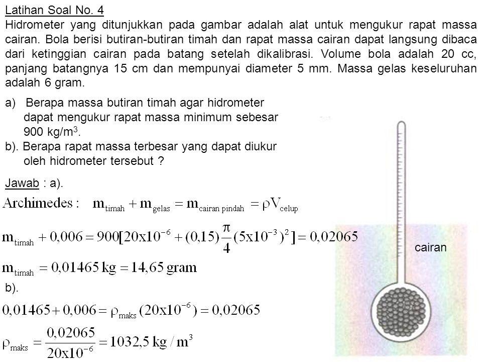 Latihan Soal No. 4 Hidrometer yang ditunjukkan pada gambar adalah alat untuk mengukur rapat massa cairan. Bola berisi butiran-butiran timah dan rapat