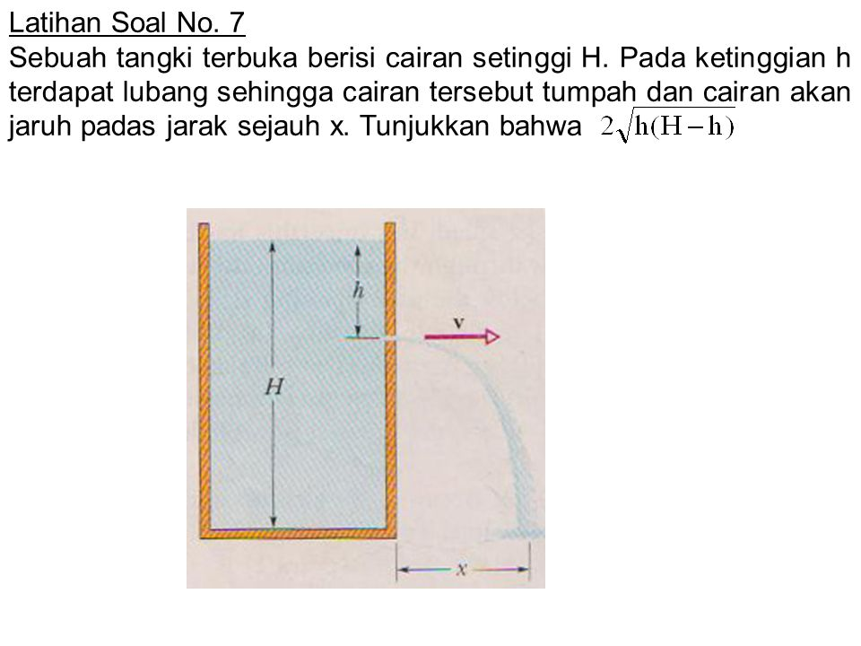 Latihan Soal No. 7 Sebuah tangki terbuka berisi cairan setinggi H. Pada ketinggian h terdapat lubang sehingga cairan tersebut tumpah dan cairan akan j
