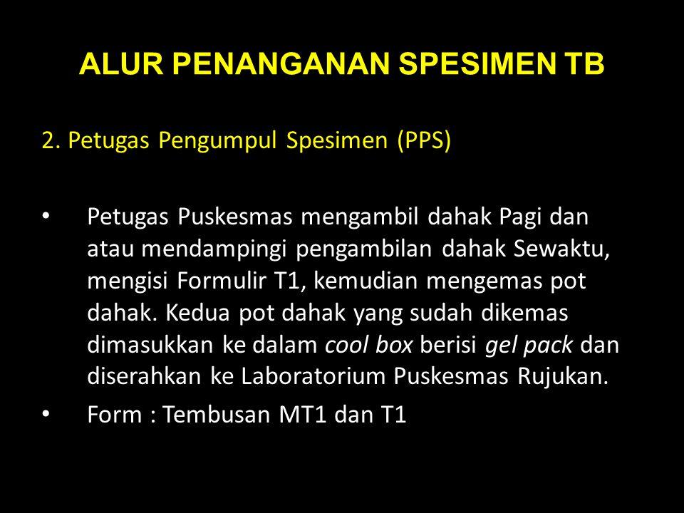 ALUR PENANGANAN SPESIMEN TB 2. Petugas Pengumpul Spesimen (PPS) Petugas Puskesmas mengambil dahak Pagi dan atau mendampingi pengambilan dahak Sewaktu,