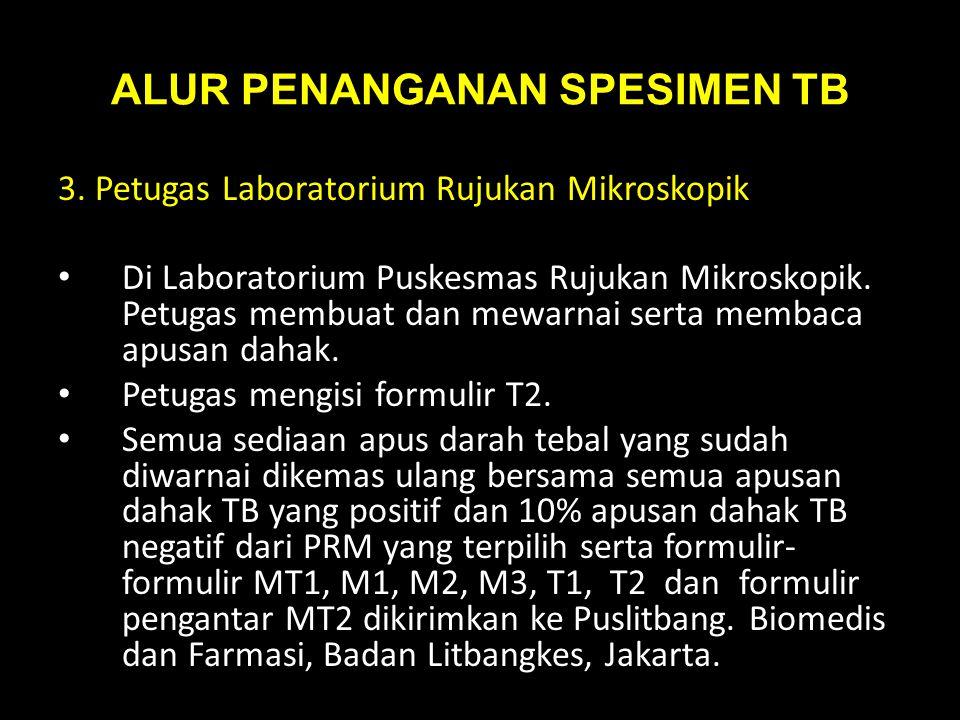 ALUR PENANGANAN SPESIMEN TB 3. Petugas Laboratorium Rujukan Mikroskopik Di Laboratorium Puskesmas Rujukan Mikroskopik. Petugas membuat dan mewarnai se