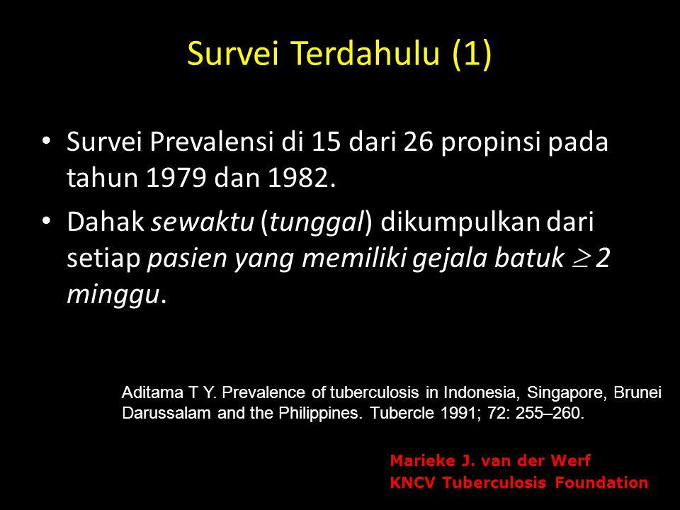 Survei Terdahulu (1) Survei Prevalensi di 15 dari 26 propinsi pada tahun 1979 dan 1982. Dahak sewaktu (tunggal) dikumpulkan dari setiap pasien yang me