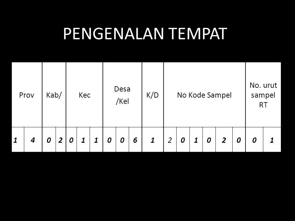 ProvKab/Kec Desa /Kel K/DK/DNo Kode Sampel No. urut sampel RT 1402011006120102001 PENGENALAN TEMPAT