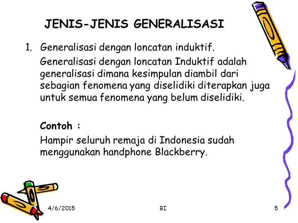 JENIS-JENIS GENERALISASI 1.Generalisasi dengan loncatan induktif. Generalisasi dengan loncatan Induktif adalah generalisasi dimana kesimpulan diambil