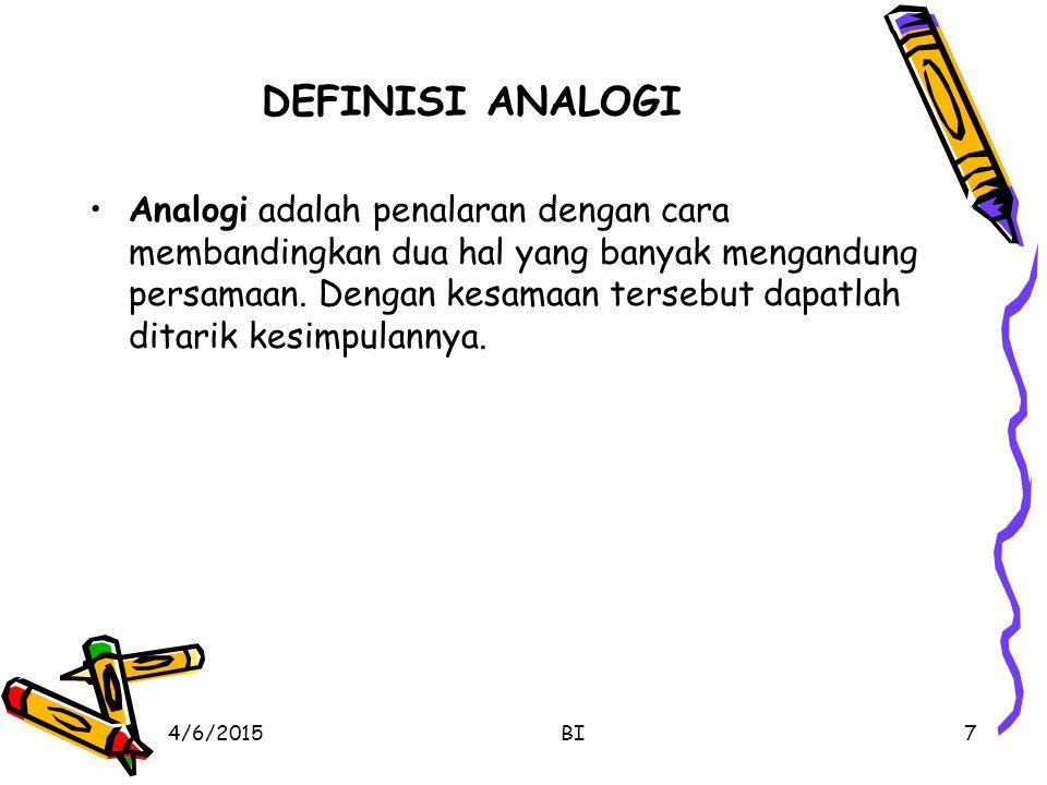 DEFINISI ANALOGI Analogi adalah penalaran dengan cara membandingkan dua hal yang banyak mengandung persamaan.