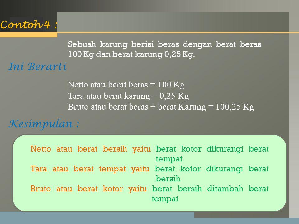 LOGO Contoh 4 : Sebuah karung berisi beras dengan berat beras 100 Kg dan berat karung 0,25 Kg.