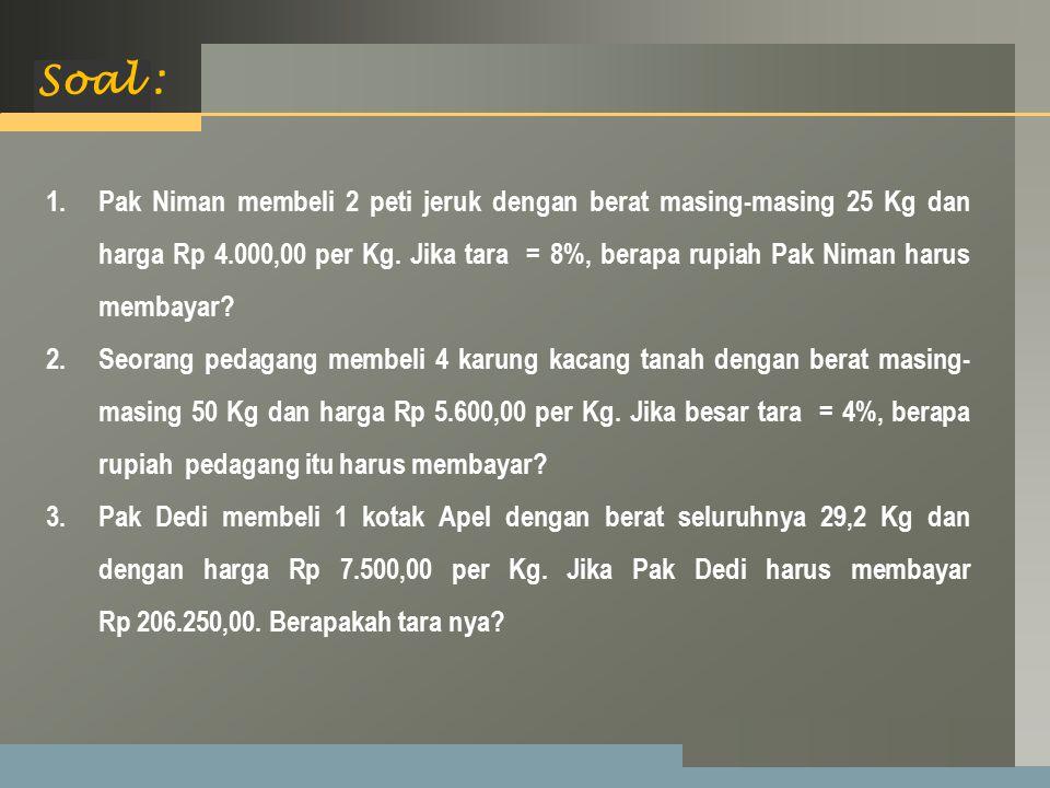 LOGO Soal : 1.Pak Niman membeli 2 peti jeruk dengan berat masing-masing 25 Kg dan harga Rp 4.000,00 per Kg.