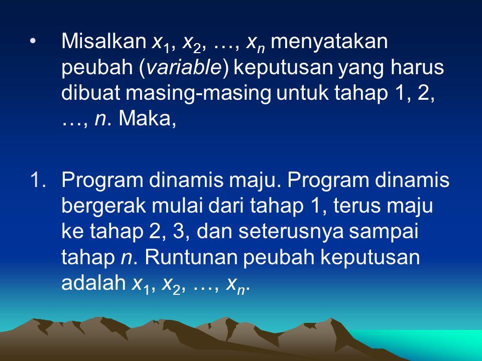 Misalkan x 1, x 2, …, x n menyatakan peubah (variable) keputusan yang harus dibuat masing-masing untuk tahap 1, 2, …, n. Maka, 1.Program dinamis maju.