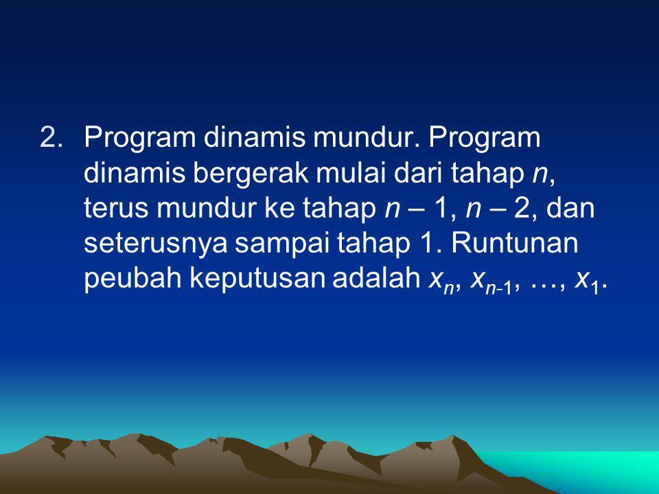 2.Program dinamis mundur. Program dinamis bergerak mulai dari tahap n, terus mundur ke tahap n – 1, n – 2, dan seterusnya sampai tahap 1. Runtunan peu
