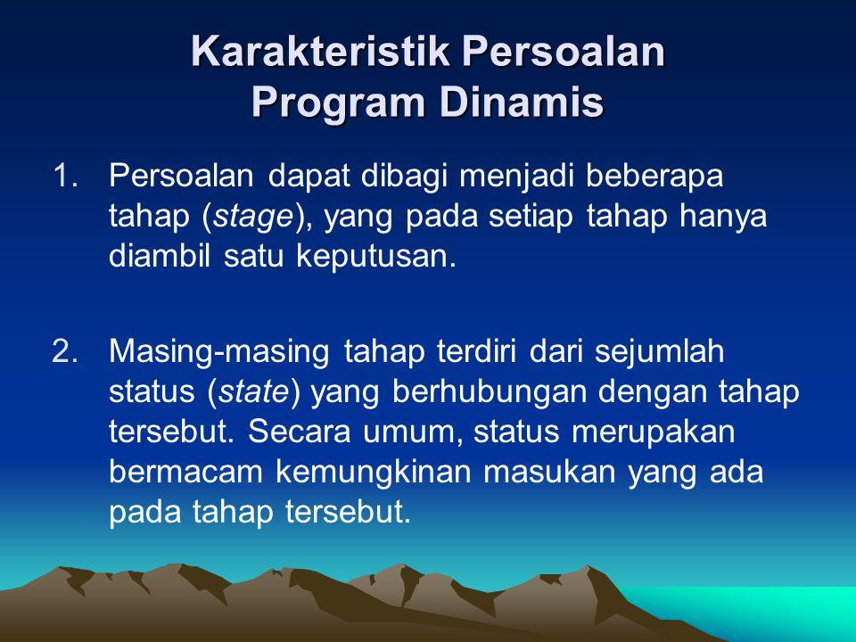Karakteristik Persoalan Program Dinamis 1.Persoalan dapat dibagi menjadi beberapa tahap (stage), yang pada setiap tahap hanya diambil satu keputusan.