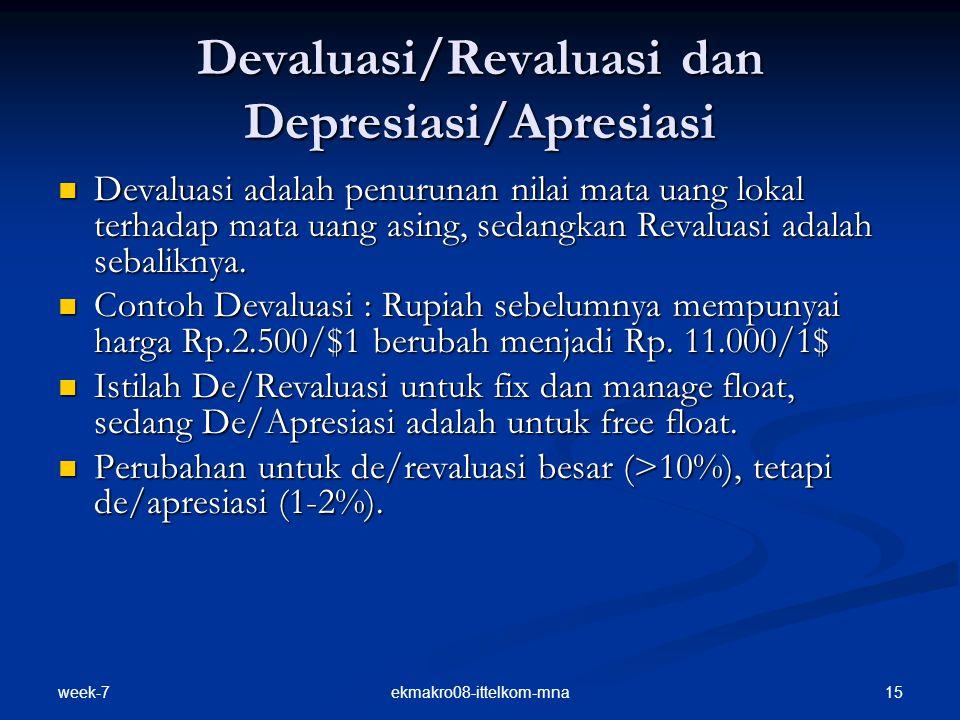 week-7 15ekmakro08-ittelkom-mna Devaluasi/Revaluasi dan Depresiasi/Apresiasi Devaluasi adalah penurunan nilai mata uang lokal terhadap mata uang asing, sedangkan Revaluasi adalah sebaliknya.