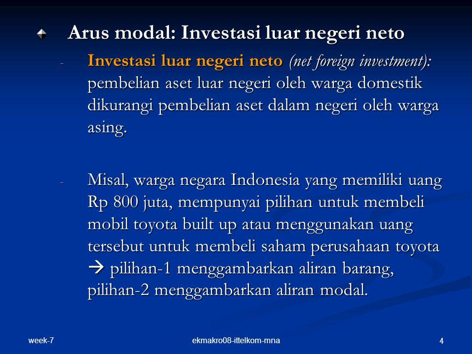 week-7 ekmakro08-ittelkom-mna 4 Arus modal: Investasi luar negeri neto - Investasi luar negeri neto (net foreign investment): pembelian aset luar negeri oleh warga domestik dikurangi pembelian aset dalam negeri oleh warga asing.