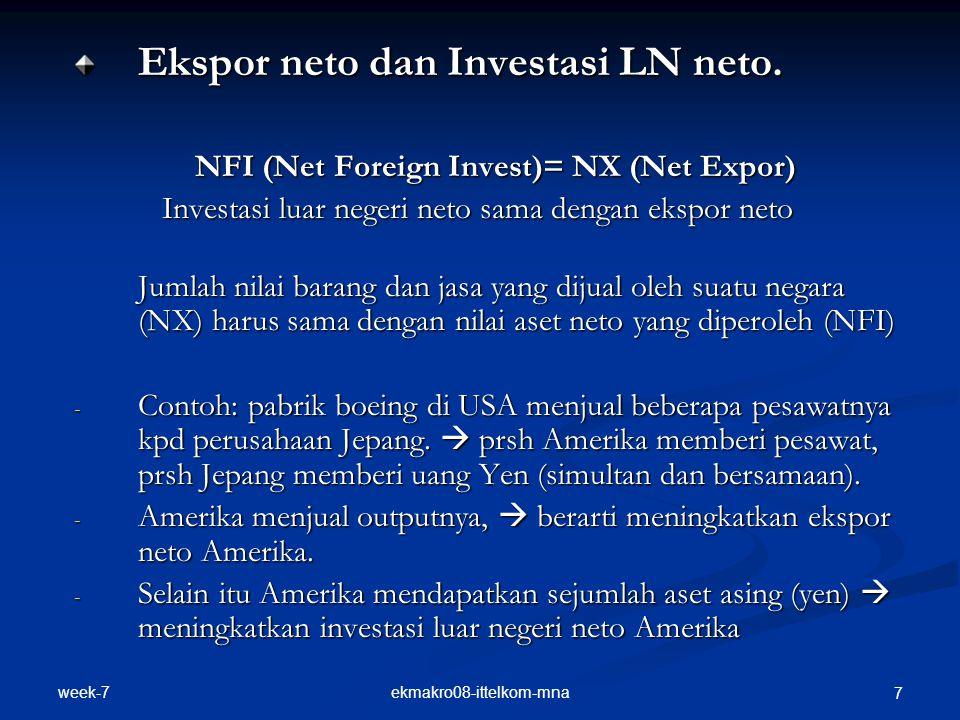 week-7 ekmakro08-ittelkom-mna 8 - Misal boeing menukar yen dgn $ dari sebuah reksadana Amerika, kemudian reksadana membeli saham prsh Sony  ekspor neto pesawat boeing sama dengan investasi luar negeri neto yang dilakukan oleh reksadana.