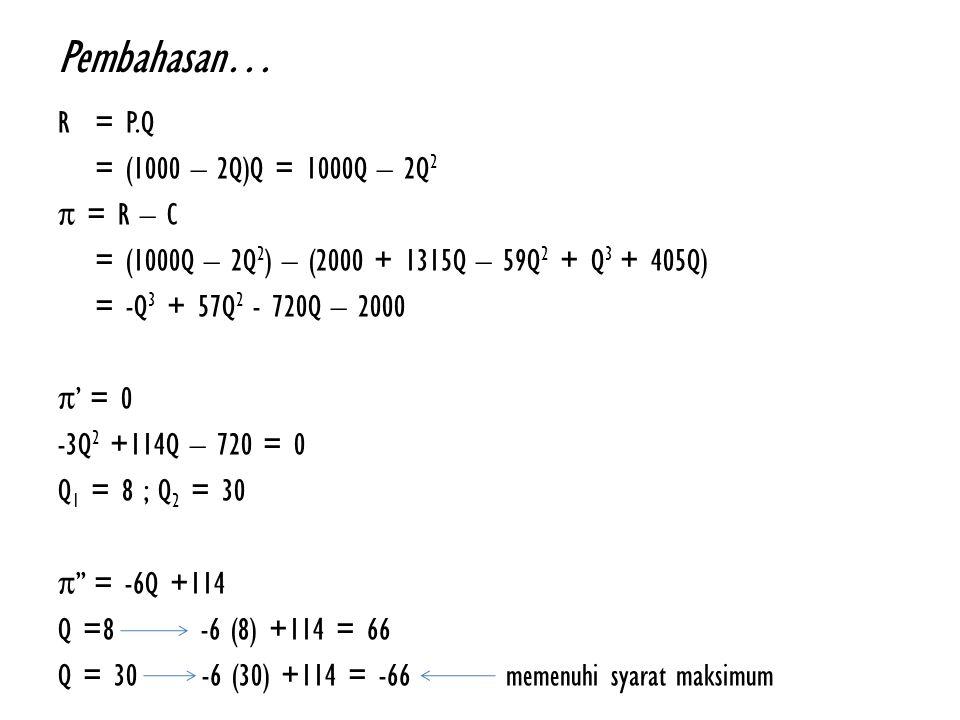 Pembahasan… R= P.Q = (1000 – 2Q)Q = 1000Q – 2Q 2 π = R – C = (1000Q – 2Q 2 ) – (2000 + 1315Q – 59Q 2 + Q 3 + 405Q) = -Q 3 + 57Q 2 - 720Q – 2000 π' = 0