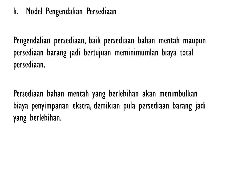 k.Model Pengendalian Persediaan Pengendalian persediaan, baik persediaan bahan mentah maupun persediaan barang jadi bertujuan meminimumlan biaya total