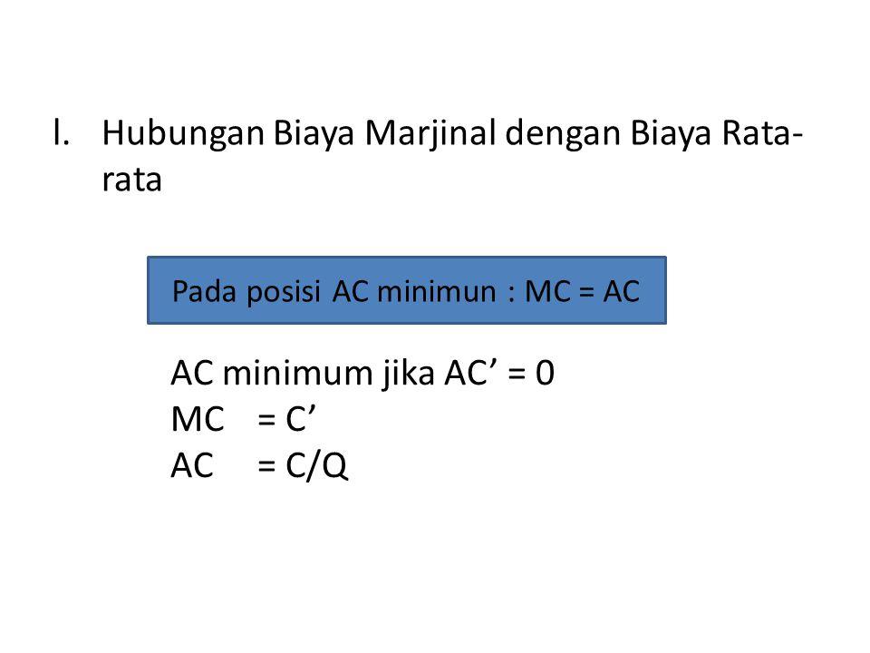 l.Hubungan Biaya Marjinal dengan Biaya Rata- rata Pada posisi AC minimun : MC = AC AC minimum jika AC' = 0 MC= C' AC= C/Q