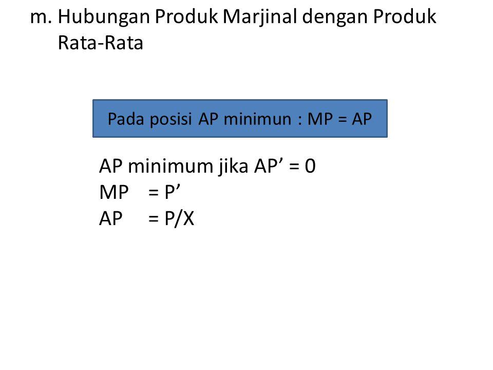 m.Hubungan Produk Marjinal dengan Produk Rata-Rata Pada posisi AP minimun : MP = AP AP minimum jika AP' = 0 MP= P' AP= P/X