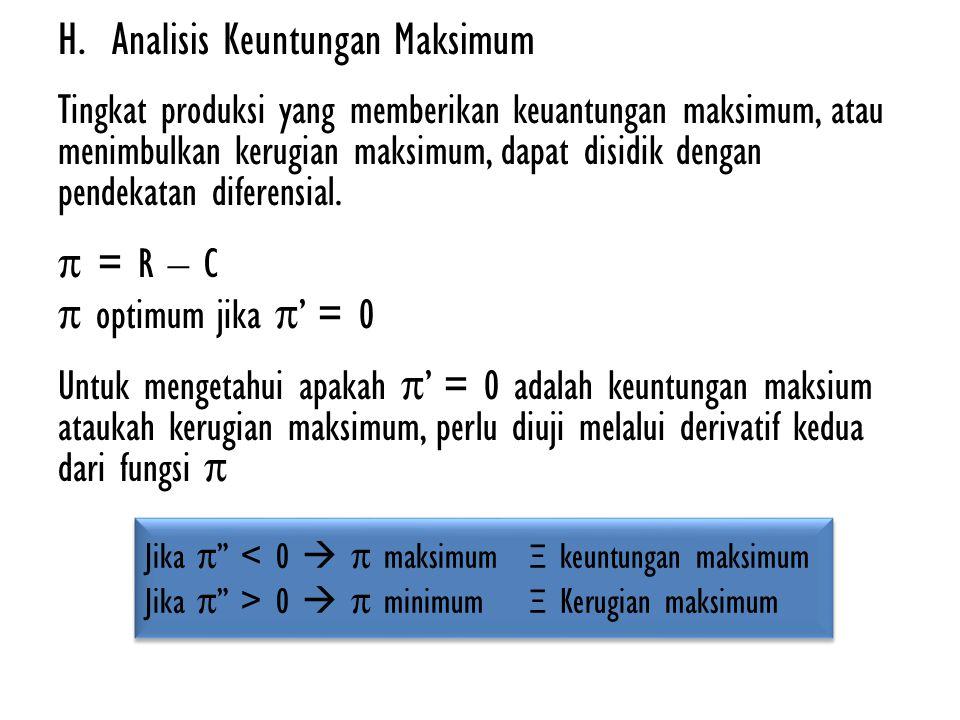 Contoh… Andaikan : R = -2Q 2 + 1000Q C = Q3 – 59Q 2 + 1315Q + 2000 Maka: π = R – C π = (-2Q 2 + 1000Q)-(Q 3 - 59Q 2 + 1315Q + 2000) π = -Q 3 + 57Q 2 – 315Q - 2000