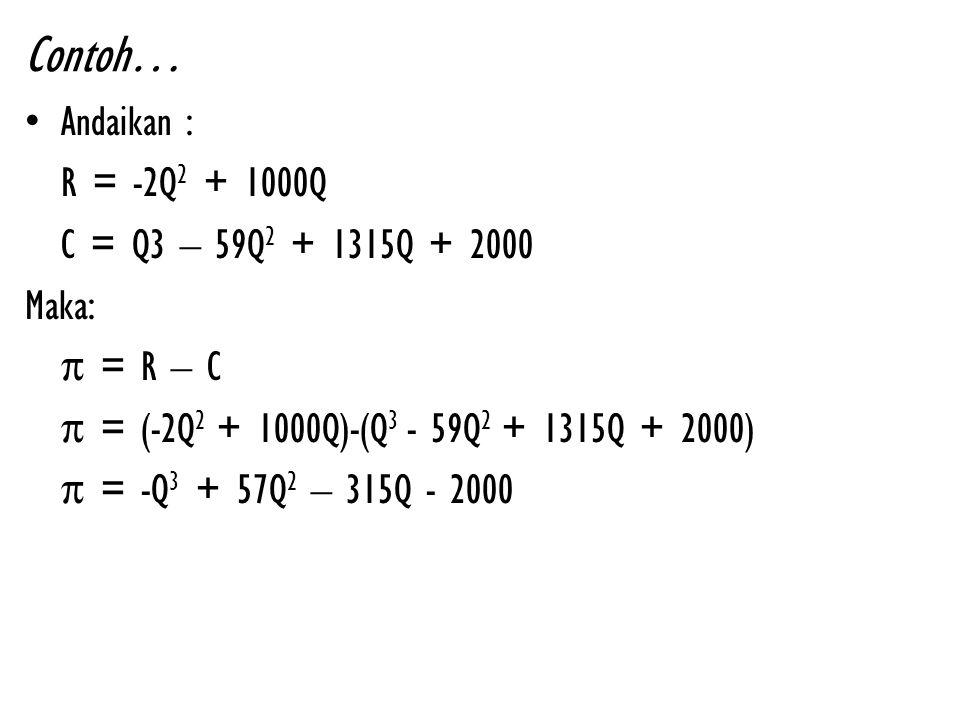 Maka, agar keuntungan maksimum: -3Q 2 + 114Q – 315= 0 Q 1 = 3 ; Q 2 = 35 π = -6Q + 114 Q = 3, maka π = 96 >0 Q = 35, maka π =-96 <0 Maka tingkat produksi yang menghasilkan keuntungan maksimum adalah Q = 35 unit, dengan besar keuntungannya adalah π = -(35) 3 + 57(35) 2 – 315(35) – 2000 = 13.925 π'= 0