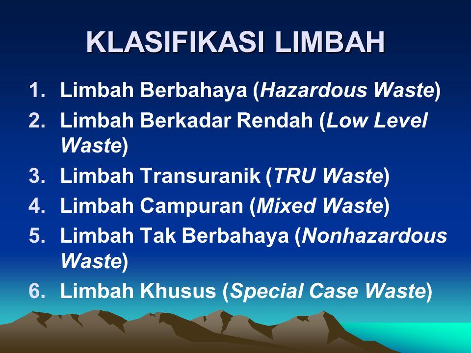 KLASIFIKASI LIMBAH 1.Limbah Berbahaya (Hazardous Waste) 2.Limbah Berkadar Rendah (Low Level Waste) 3.Limbah Transuranik (TRU Waste) 4.Limbah Campuran (Mixed Waste) 5.Limbah Tak Berbahaya (Nonhazardous Waste) 6.Limbah Khusus (Special Case Waste)
