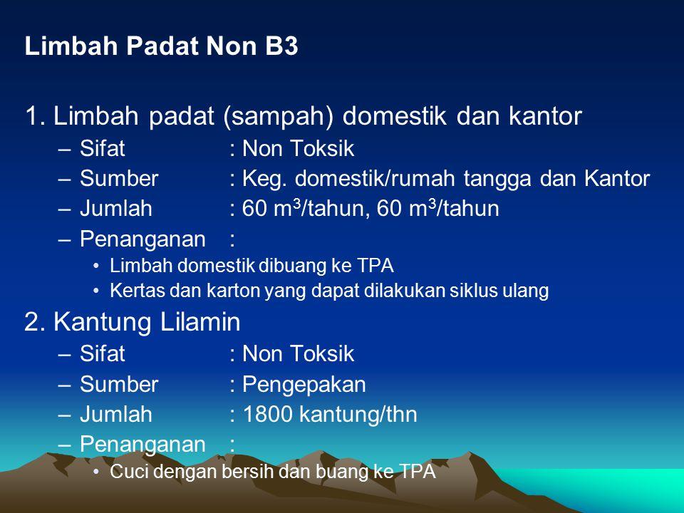 Limbah Padat Non B3 1.Limbah padat (sampah) domestik dan kantor –Sifat : Non Toksik –Sumber : Keg.
