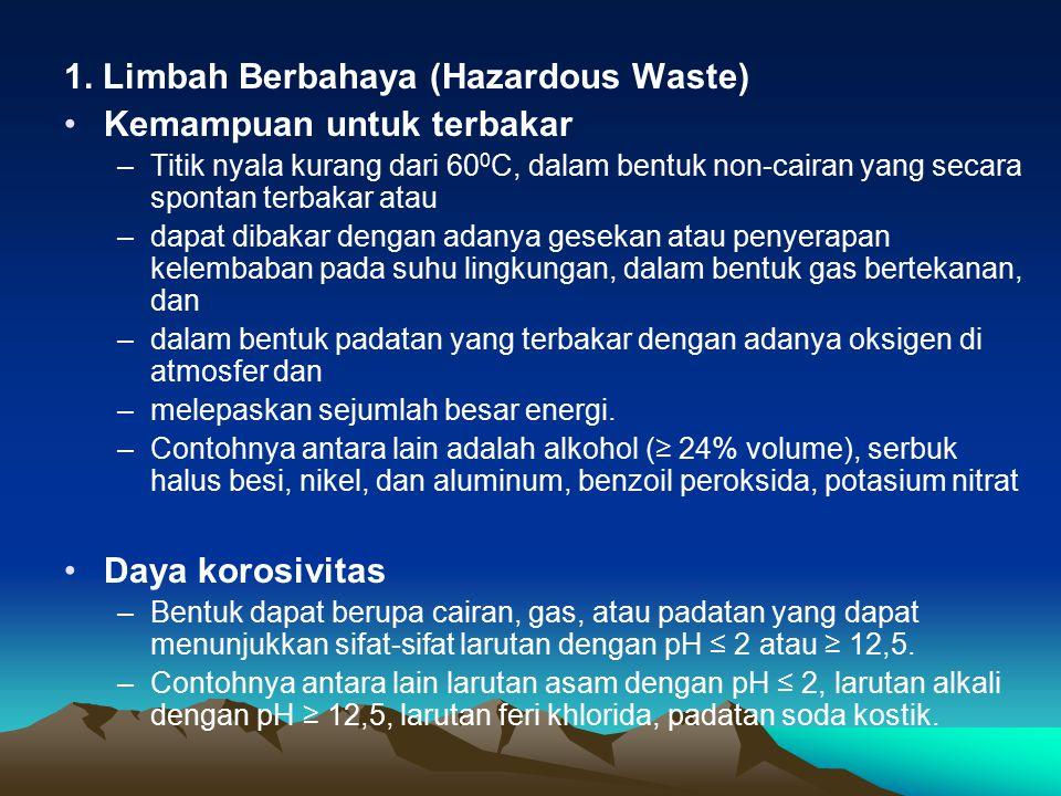 1. Limbah Berbahaya (Hazardous Waste) Kemampuan untuk terbakar –Titik nyala kurang dari 60 0 C, dalam bentuk non-cairan yang secara spontan terbakar a