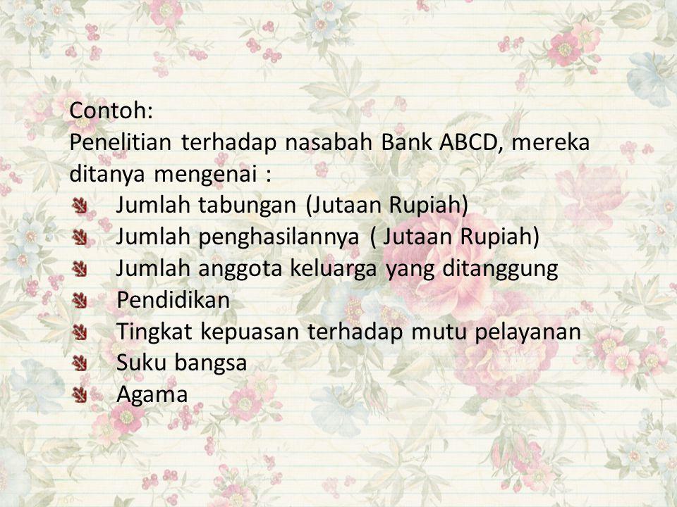 Contoh: Penelitian terhadap nasabah Bank ABCD, mereka ditanya mengenai : Jumlah tabungan (Jutaan Rupiah) Jumlah penghasilannya ( Jutaan Rupiah) Jumlah