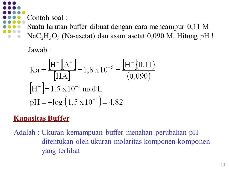 Jawab : Kapasitas Buffer Adalah : Ukuran kemampuan buffer menahan perubahan pH ditentukan oleh ukuran molaritas komponen-komponen yang terlibat 13 Con