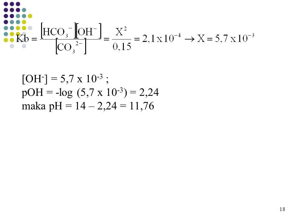 [OH - ] = 5,7 x 10 -3 ; pOH = -log (5,7 x 10 -3 ) = 2,24 maka pH = 14 – 2,24 = 11,76 18