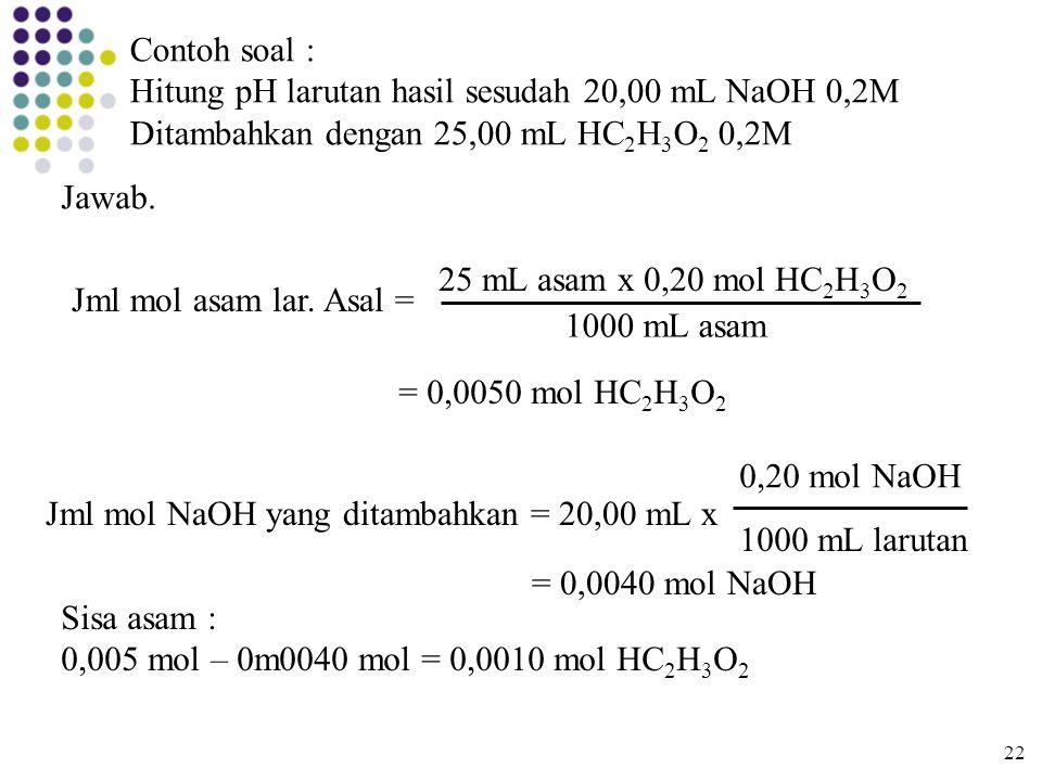 Contoh soal : Hitung pH larutan hasil sesudah 20,00 mL NaOH 0,2M Ditambahkan dengan 25,00 mL HC 2 H 3 O 2 0,2M Jawab. Jml mol asam lar. Asal = 25 mL a