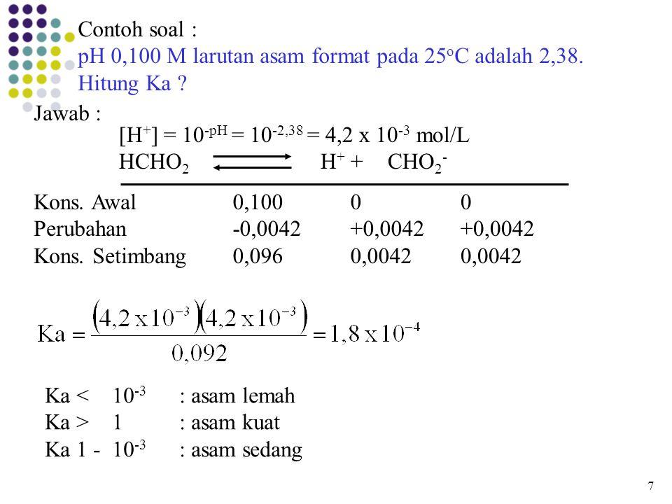 Contoh soal : pH 0,100 M larutan asam format pada 25 o C adalah 2,38. Hitung Ka ? Jawab : [H + ] = 10 -pH = 10 -2,38 = 4,2 x 10 -3 mol/L HCHO 2 H + +