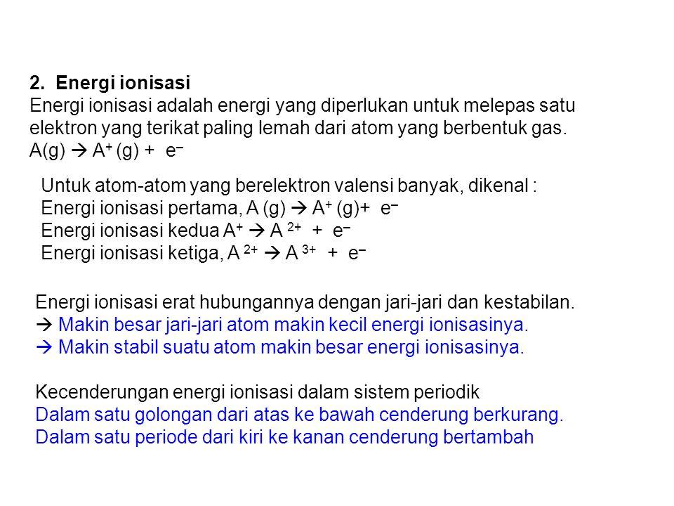 2. Energi ionisasi Energi ionisasi adalah energi yang diperlukan untuk melepas satu elektron yang terikat paling lemah dari atom yang berbentuk gas. A