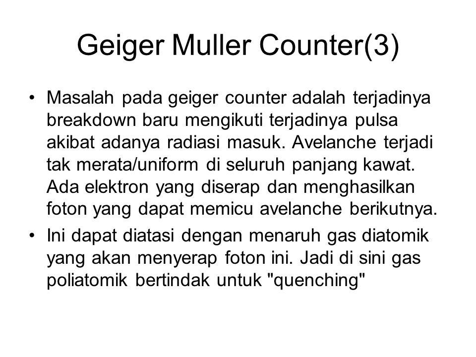 Geiger Muller Counter(3) Masalah pada geiger counter adalah terjadinya breakdown baru mengikuti terjadinya pulsa akibat adanya radiasi masuk. Avelanch