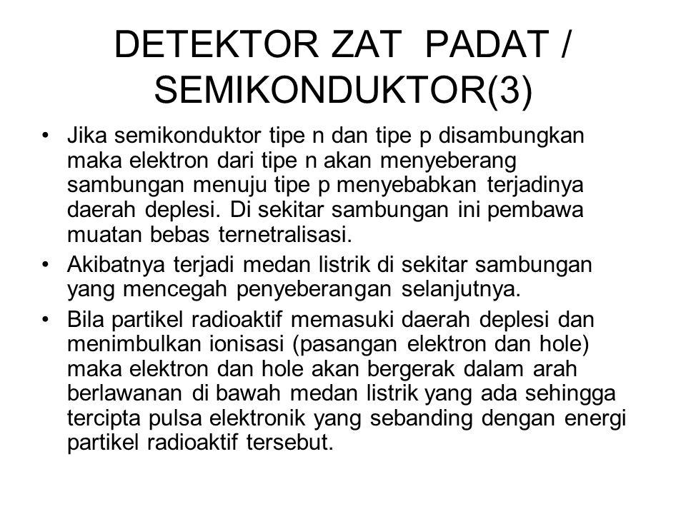 DETEKTOR ZAT PADAT / SEMIKONDUKTOR(3) Jika semikonduktor tipe n dan tipe p disambungkan maka elektron dari tipe n akan menyeberang sambungan menuju ti