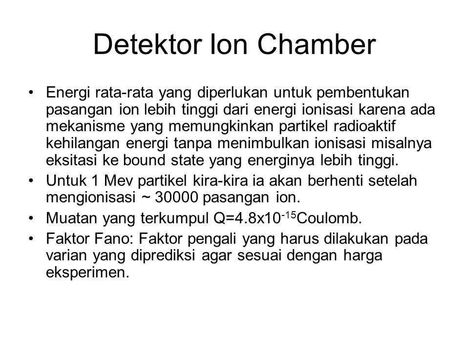 Detektor Ion Chamber Energi rata-rata yang diperlukan untuk pembentukan pasangan ion lebih tinggi dari energi ionisasi karena ada mekanisme yang memun