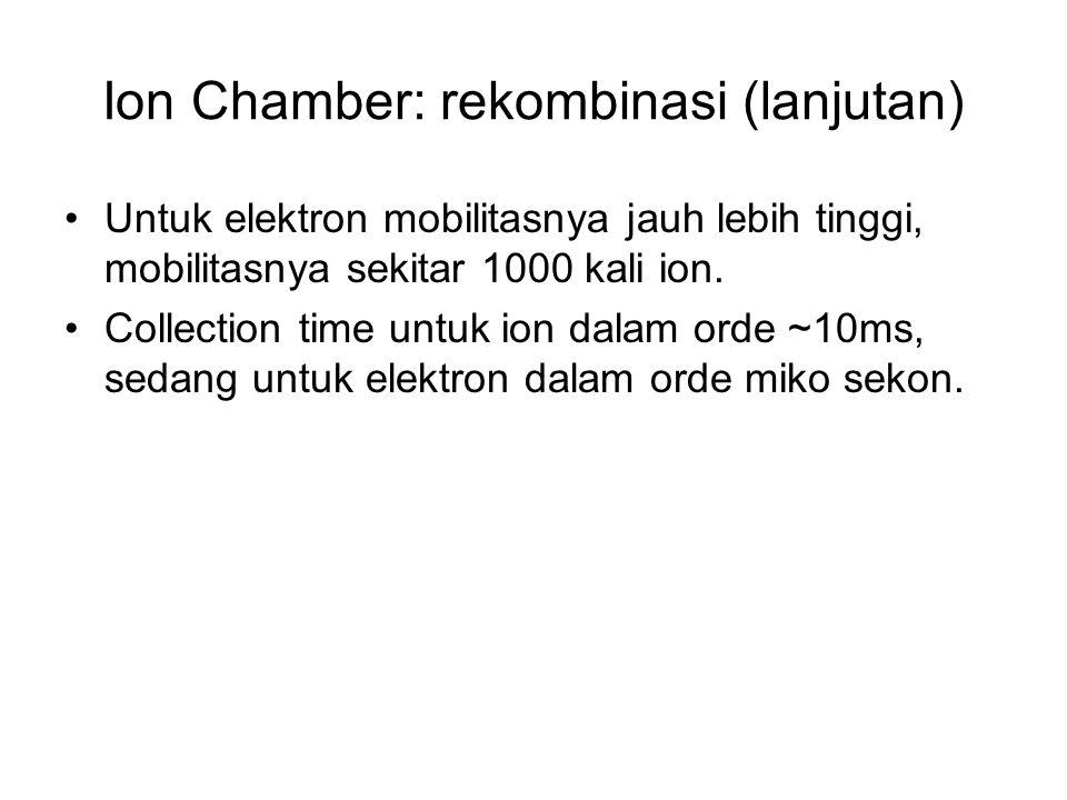 Ion Chamber: rekombinasi (lanjutan) Untuk elektron mobilitasnya jauh lebih tinggi, mobilitasnya sekitar 1000 kali ion. Collection time untuk ion dalam
